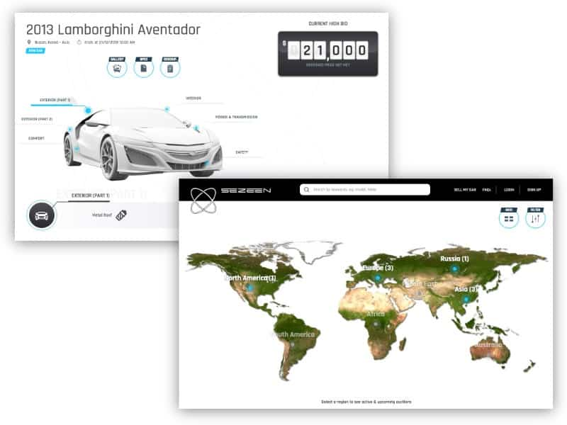 Sezeen homepage and car feature page