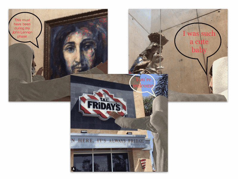 images of AR Jesus viewing TGI Fridays and artwork.