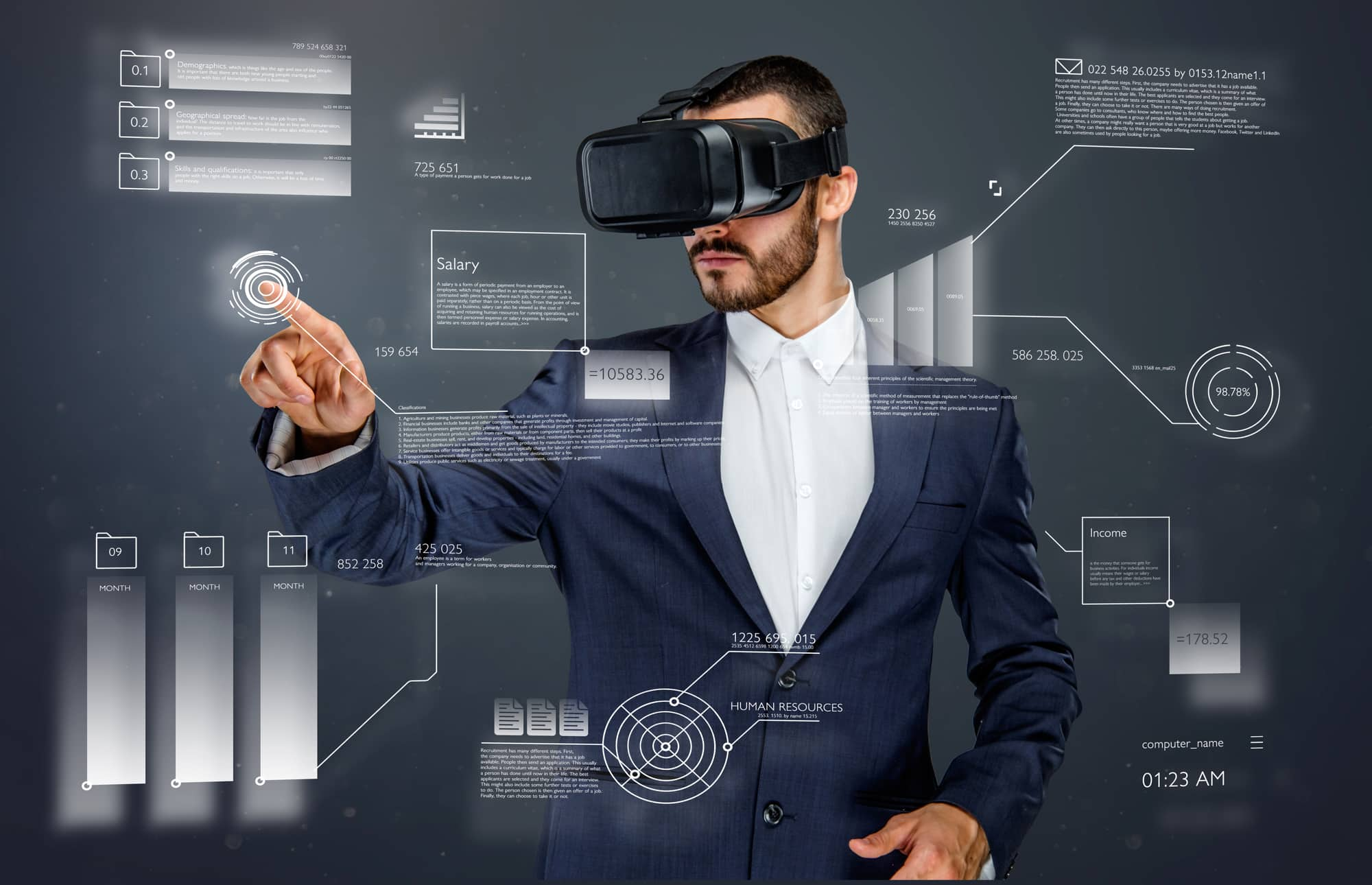 Male in a suit with virtual reality glasses on his head working in virtual financial world.