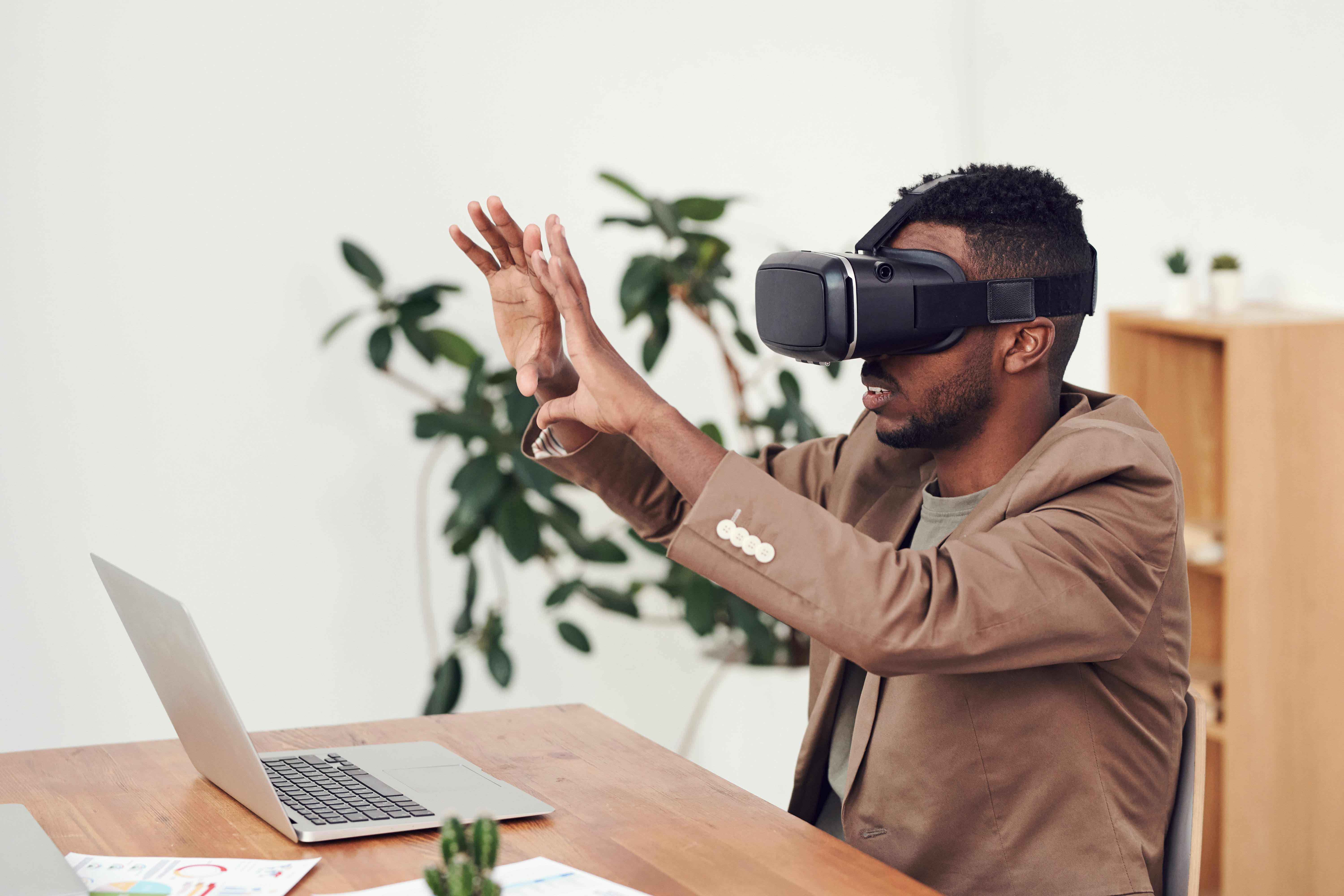 man in virtual reality standalone headset