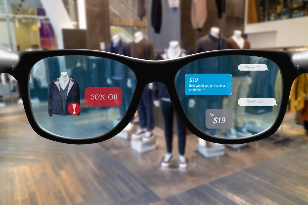 smart glasses with augmented mixed virtual reality in retail concept , customer use artificial intelligence, geofencing and chatbot technology to buy product in superstore