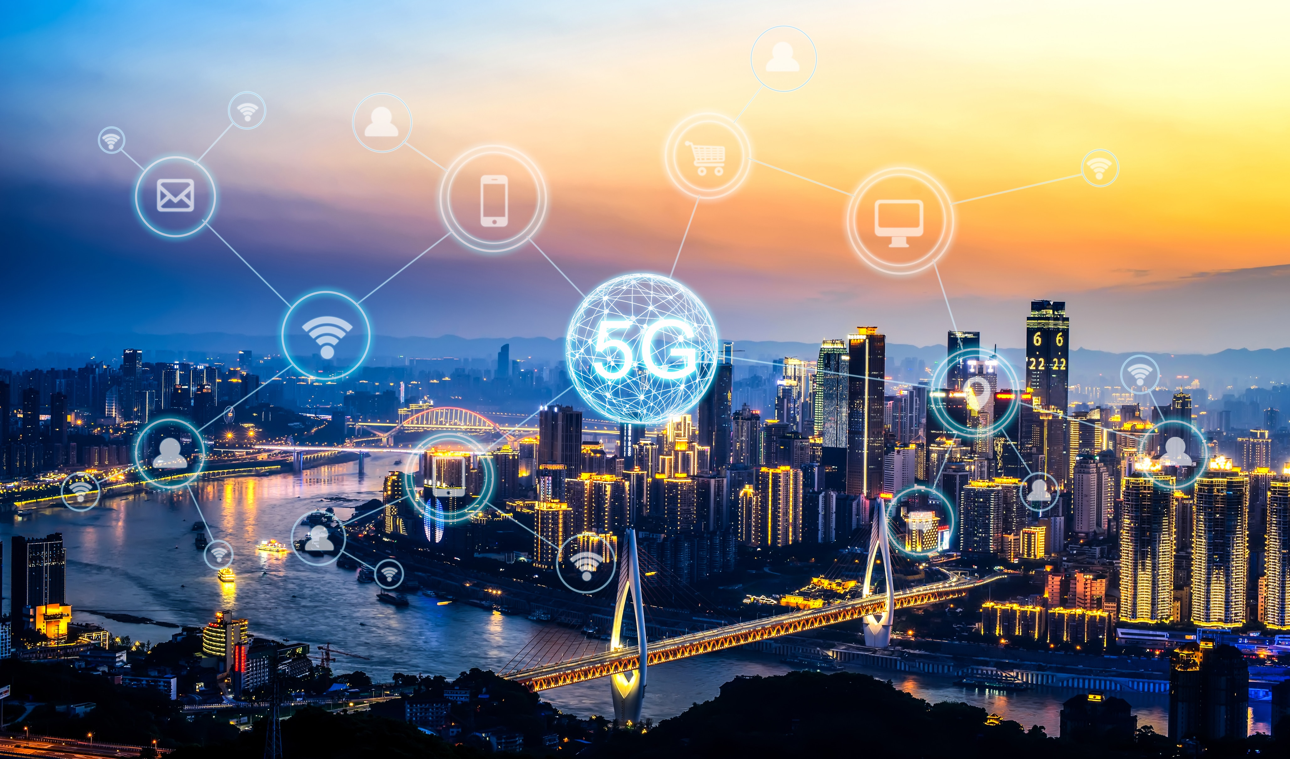 Wireless communication network concept.Panorama of Modern City 5G for customer service