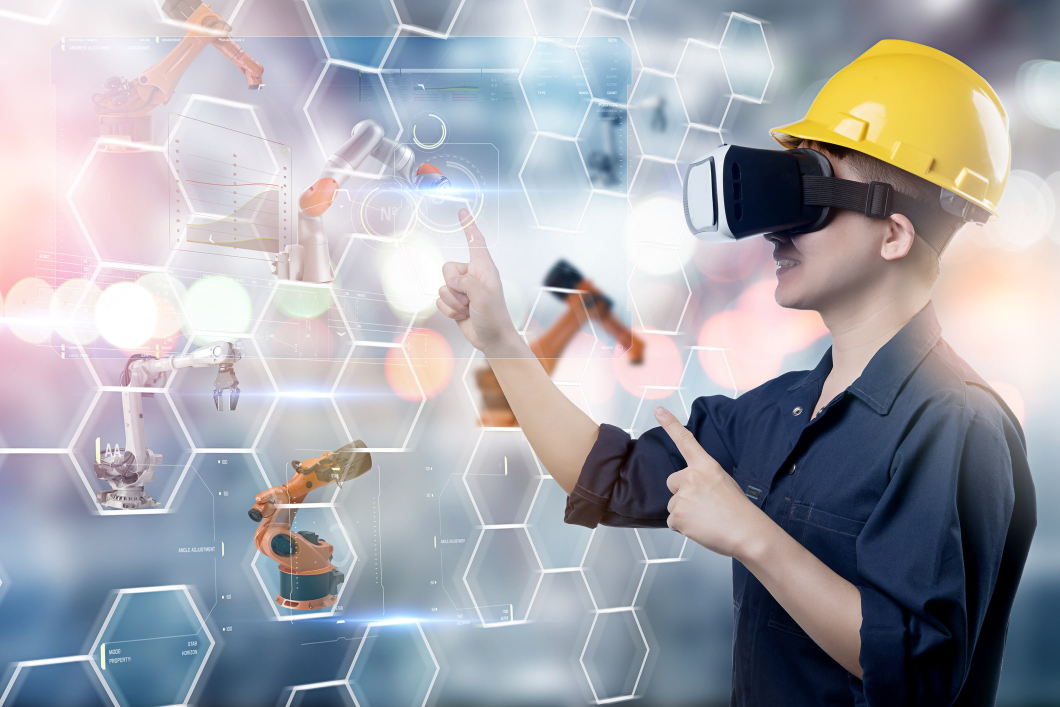 Engineer working, VR smart factory machine IOT internet of thing digital technology futuristic, Smart manufacturing digital process AI management technology app system automate robot control, virtual reality for training