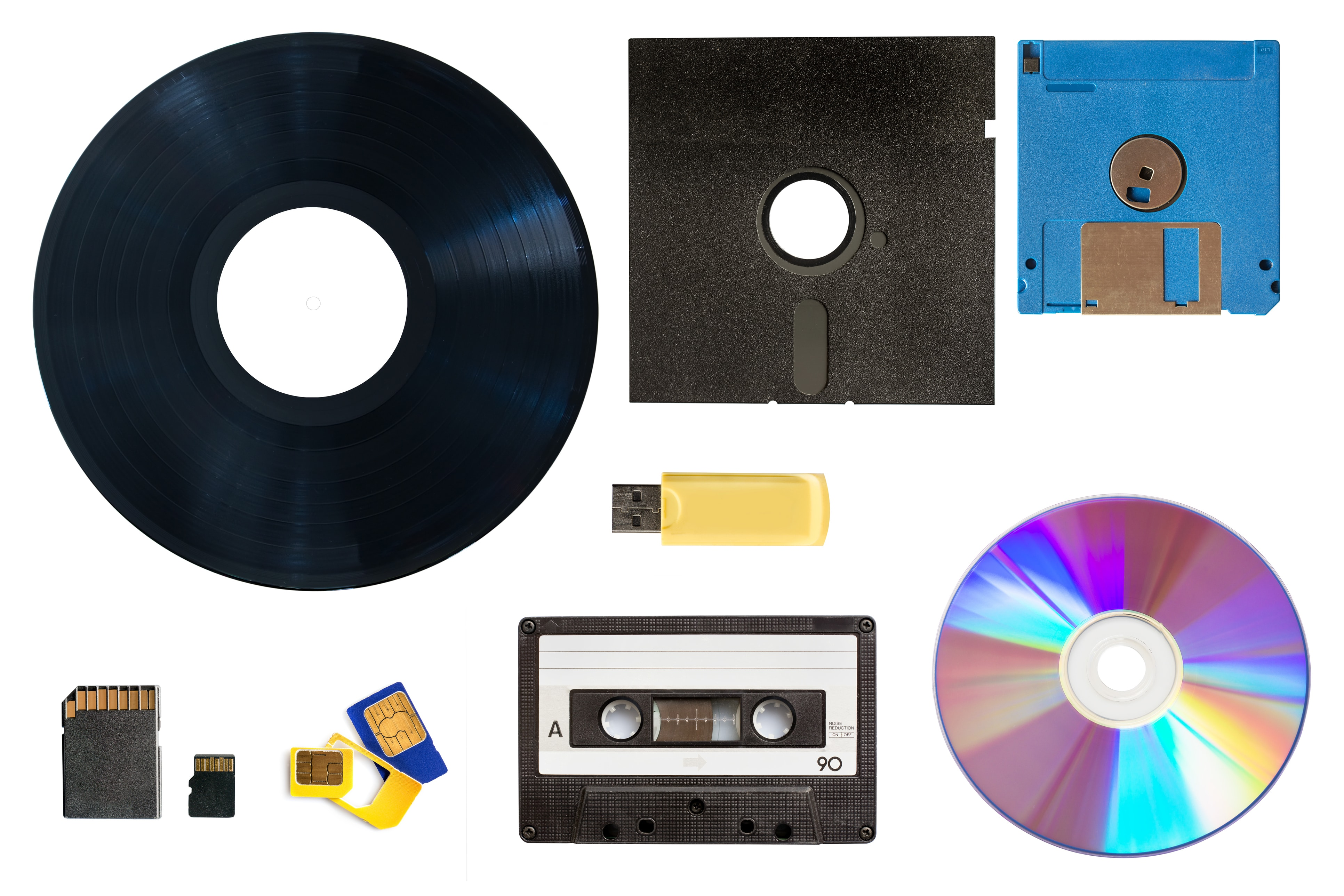 Evolution of technology data and media storage concept collage